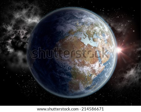 Sunrise over Africa, a concept 3D rendering of Earth at dawn with the African and the European continents in daylight.Elements of this image furnished by NASA. - stock photo