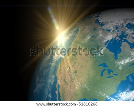 Sunrise over America - stock photo