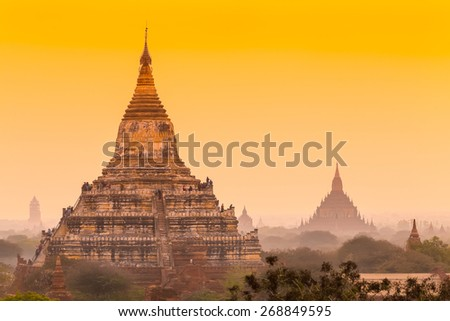 Sunrise over ancient Bagan, Myanmar - stock photo