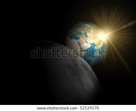 Sunrise over Asia, look over Moon - stock photo