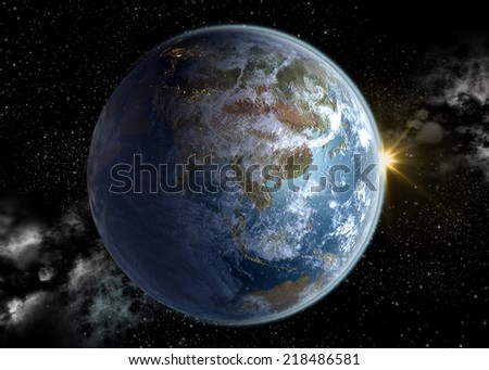 Sunrise over Asia Pacific and China, a 3D rendering of Earth at dawn with South East Asia in the morning sun, and the European continent night illuminated. Elements of this image furnished by NASA. - stock photo