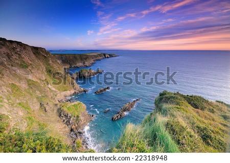 Sunrise over Atlantic coast - stock photo
