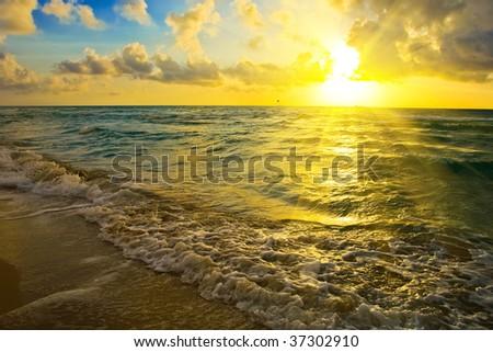 Sunrise over Atlantic ocean, FL, USA - stock photo
