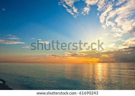 Sunrise over Atlantic ocean, FL, USA - stock photo