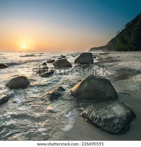 Sunrise over Baltic Sea by Binz resort on island Rugen, Germany - stock photo