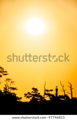 Sunrise Over Cape Charles Lighthouse - stock photo