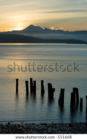 Sunrise over Cascade mountains - stock photo