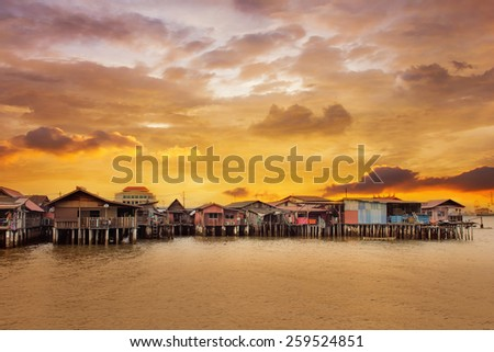 Sunrise Over Chew Jetty in Penang Malaysia - stock photo