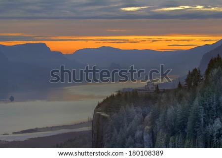 Sunrise Over Crown Point at Columbia River Gorge in Portland Oregon - stock photo