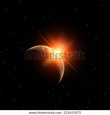 Sunrise over distant planet in space.  - stock photo