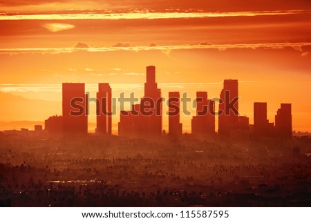 Sunrise over downtown Los Angeles - stock photo