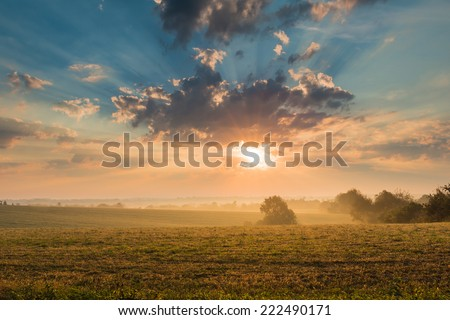 Sunrise Over Field - stock photo