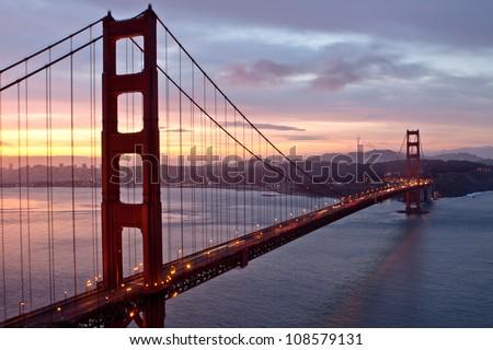 Sunrise over Golden Gate Bridge - stock photo