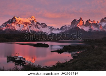 Sunrise over Horns of Paine and Lake Pehoe, Torres del Paine National Park, Patagonia, Chile, - stock photo
