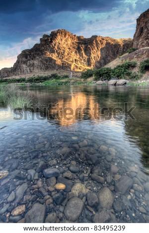 Sunrise Over John Day River in Central Oregon - stock photo