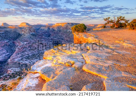 "Sunrise over Little Grand Canyon, at the ""Wedge""."