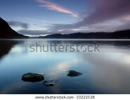 sunrise over loch ness - stock photo