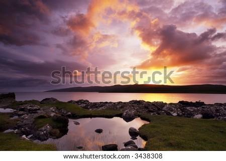 Sunrise over Loch Sligachan in the Isle of Skye - stock photo