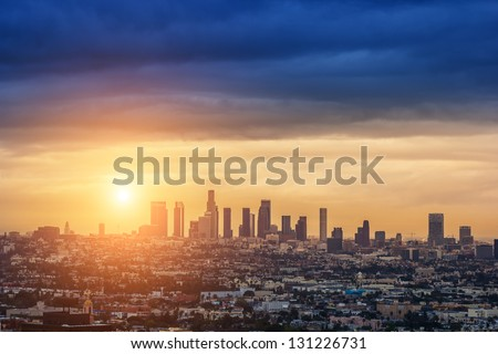 Sunrise over Los Angeles city skyline - stock photo