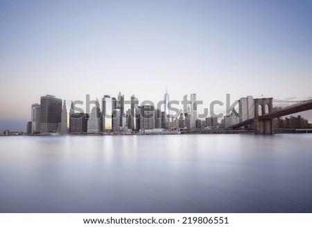 Sunrise over Manhattan island, New York City - stock photo