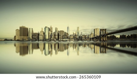 Sunrise over Manhattan Island, New York City - stock photo