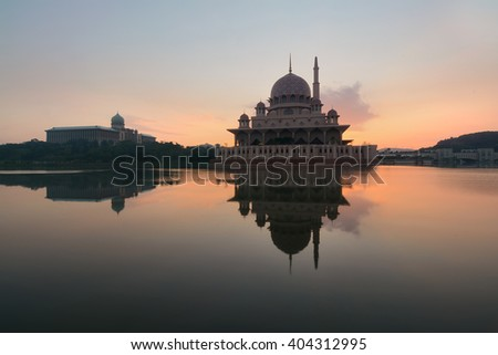 Sunrise over Masjid Putra, Putrajaya - stock photo