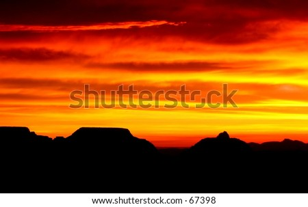 Sunrise over Mather Point, South Rim of the Grand Canyon - stock photo