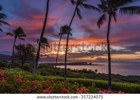 Sunrise over Menele Bay on the island of Lanai, Hawaii - stock photo