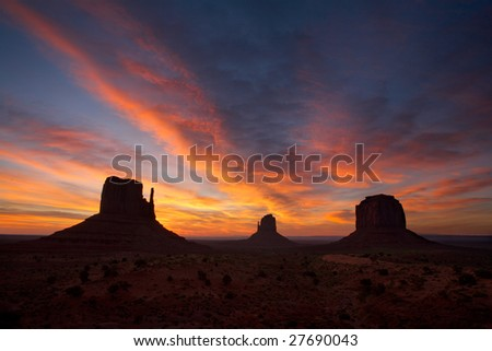 Sunrise over monument valley - stock photo