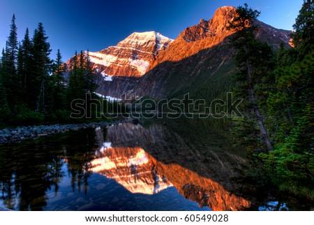 sunrise over mountain - stock photo