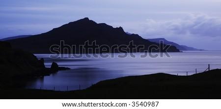 Sunrise over mountains in Skye. - stock photo
