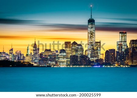 Sunrise over New York City - stock photo