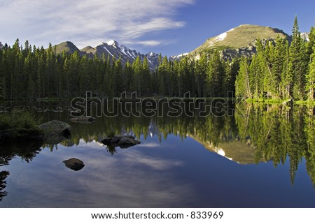 Sunrise over Nymph Lake, Longs Peak and Glacier Gorge in the background - Rocky Mtn Nat'l Park, CO - stock photo