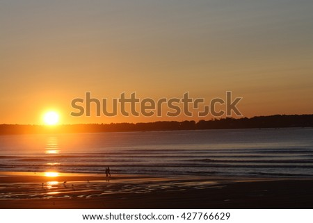 Sunrise Over Old Orchard Beach - stock photo