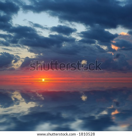 Sunrise Over Pacific Ocean. Square Image for Better Cropping. - stock photo