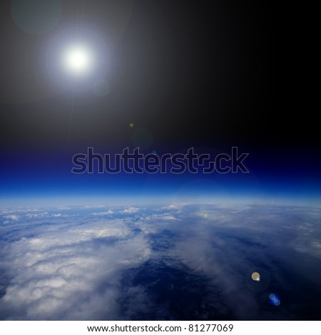 Sunrise over planet Earth. - stock photo