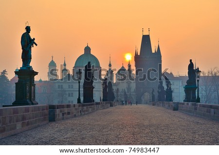 sunrise over Prague - look from Charles (Karluv) bridge - stock photo