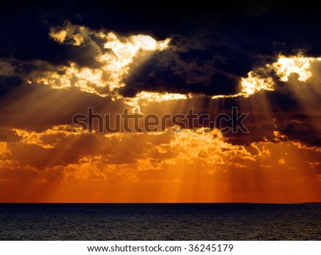 Sunrise over sea. - stock photo