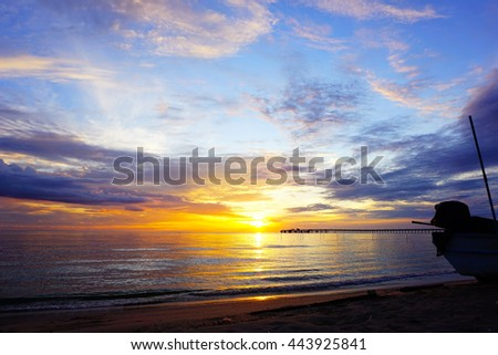 Sunrise over sea,colorful sky and clouds with water in the sea reflection,select focus with shallow depth of field:ideal use for background.