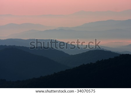 Sunrise over Smokey, Blue Ridge mountains all part of the Appalachian chain.