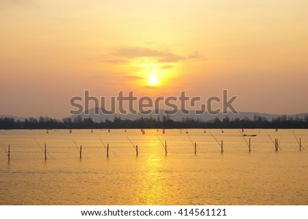 Sunrise over Songkhla Lake,Songkhla Southern Thailand:slelect focus with shallow depth of field:ideal use for background