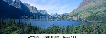 Sunrise over St. Mary Lake, Glacier National Park, Montana - stock photo