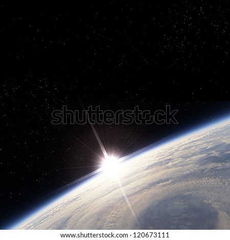 Sunrise over storm view from the Earth orbit