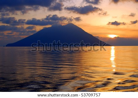 sunrise over Stromboli island, Italy - stock photo