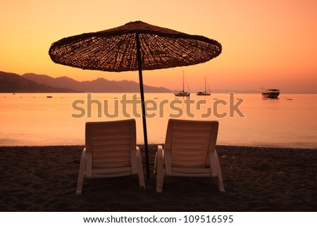 Sunrise over the bay of Turunc in Turkey - stock photo