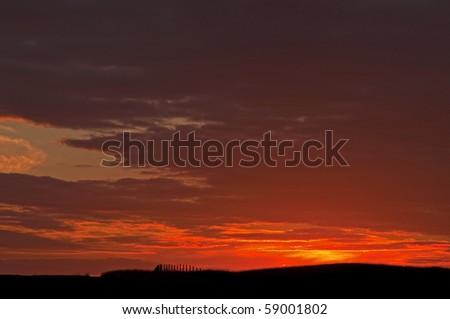 sunrise over the blackmoor vale dorset - stock photo