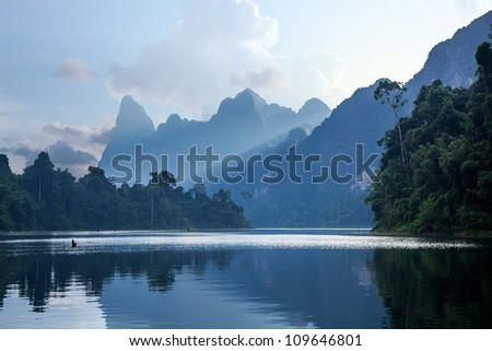 Sunrise over the Cheo Lan Lake in Thailand - stock photo