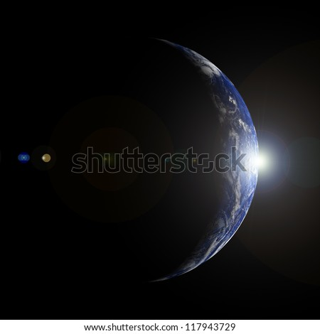 Sunrise over the crescent Earth from space. Extremely detailed image. Elements of this image furnished by NASA. - stock photo