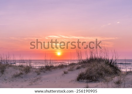 Sunrise over the Dunes Avon, North Carolina - stock photo
