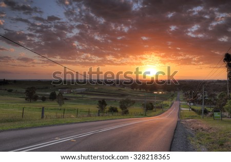 Sunrise over the farmlands and rural part of Penrith called Orchard Hills
